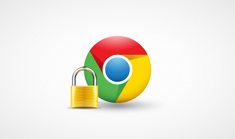 The logo of Google Chrome with a lock on it