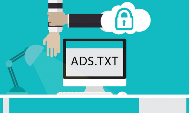 ads.txt file written on a computer to secure the content