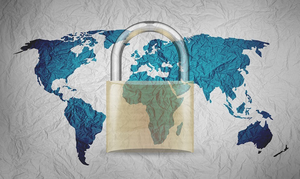 world map with a lock