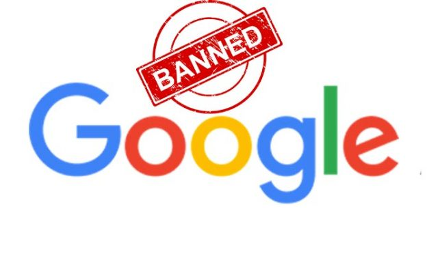 Logo Google with a stamp banned Adsense